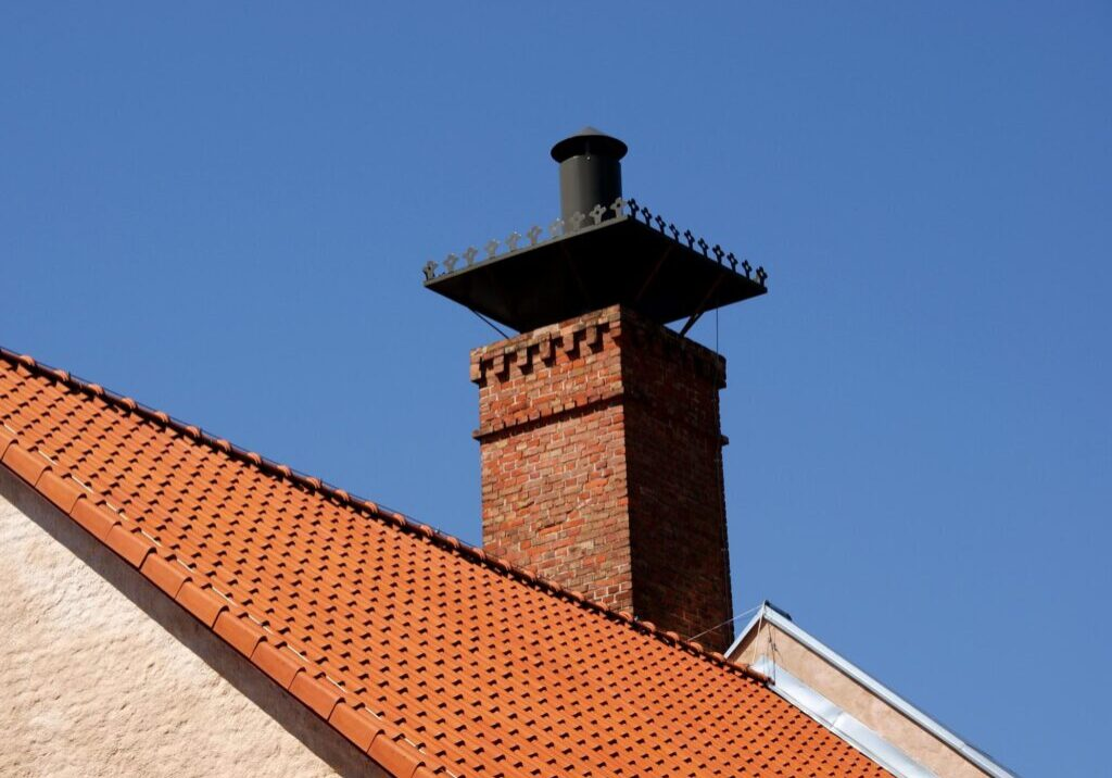 a chimney with a cap on it