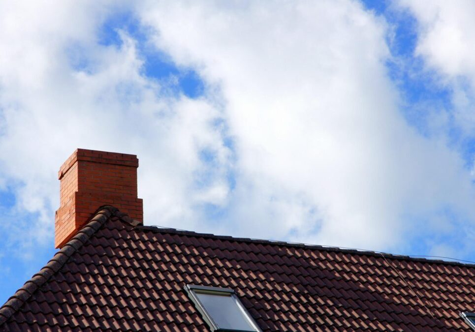 chimney in the edge of the roof